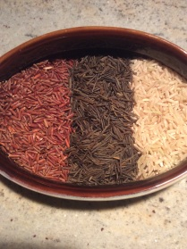 Whole grains: red rice, wild rice ( technically a grass), and brown rice